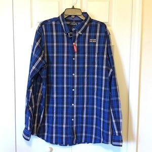 Chaps Blue Plaid Button-down Long Sleeve Shirt